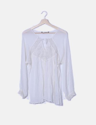 Blusa gasa bordado blanco