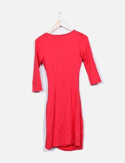 Vestido rojo escote cruzado