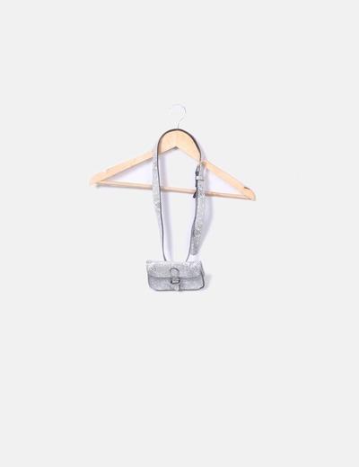 Mini bolso con cinturón negro y blanco