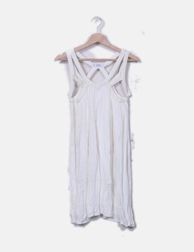 Vestido fluido blanco tirantes combinados