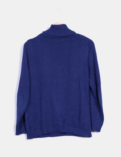 Top tricot cuello alto azul