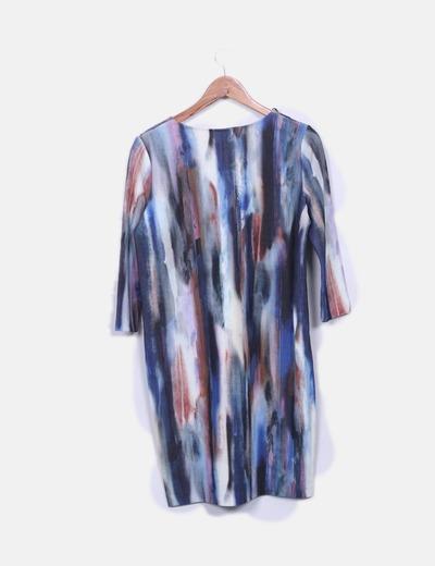 Vestido estampado combinado multicolor