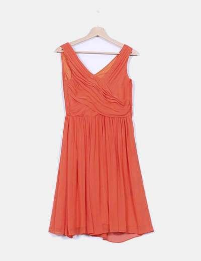 Vestido gasa drapeada naranja H&M