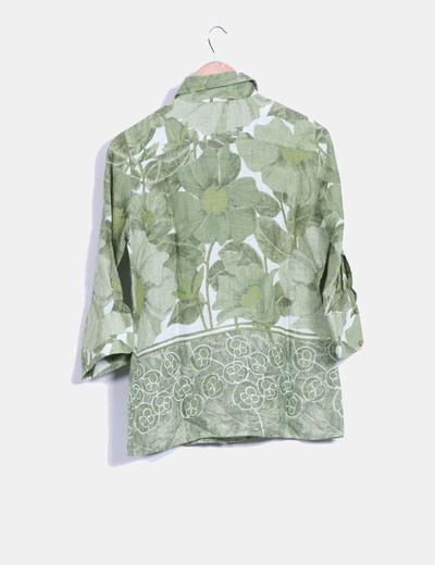 Camisa verde floral de lino
