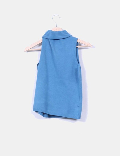 Jersey azul turquesa sin mangas con cuello vuelto