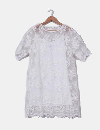 Robe blanche en dentelle Front Row Shop