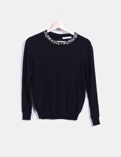 Jersey tricot negro con pedrería