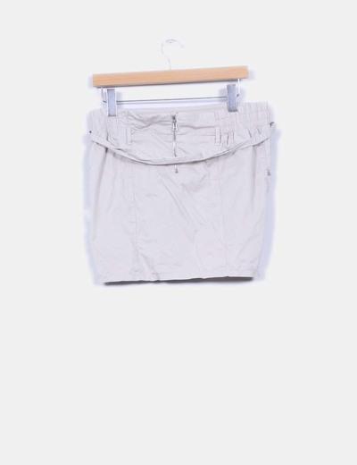 Mini falda globo beige