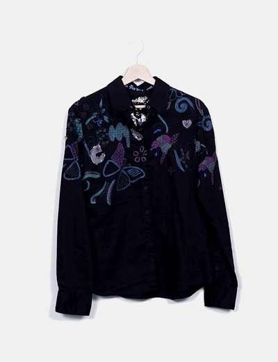 Chemise noire à fleurs Desigual