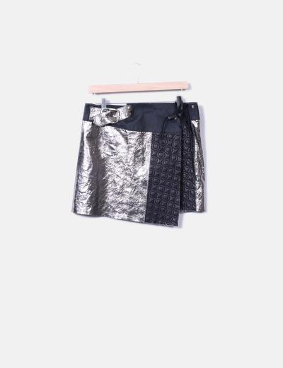 Falda mini combinada bicolor Maricochi