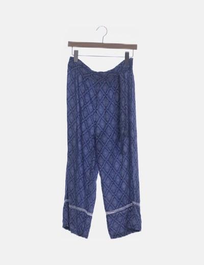 Culotte azul estampado detalle crochet
