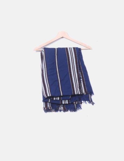 Maxi pañuelo azul marino de rayas