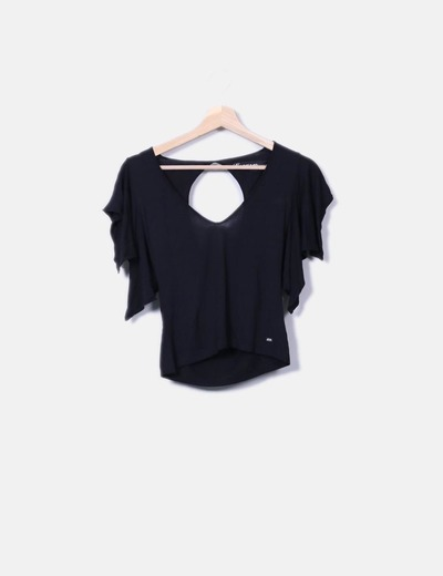 5c70d6d8726c4 Miss Sixty Camiseta negra cropped (descuento 76%) - Micolet