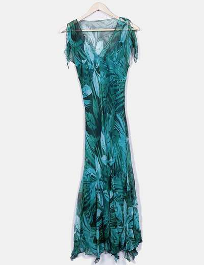 Vestido floral de gasa corte asimétrico