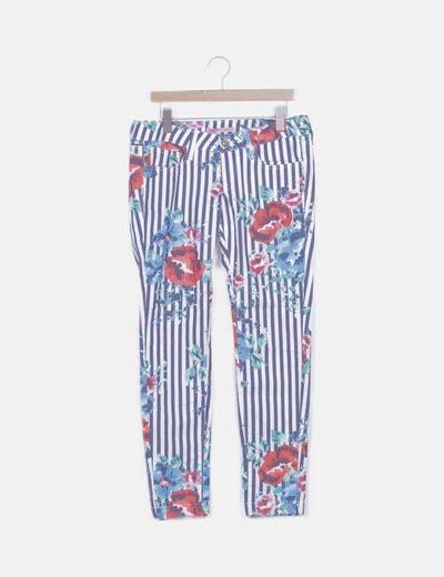 Jeans de rayas estampado
