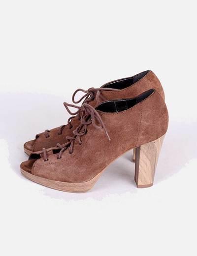 Con Cordones Toe Peep Zapato Abotinado Camel O8PknwX0