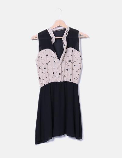 Vestido bicolor print corazones NoName