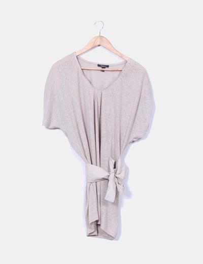 Jersey tricot largo camel con cinturón Mango