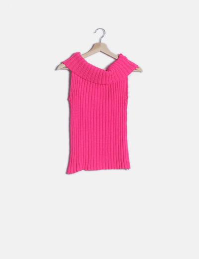 Camiseta tricot rosa flúor