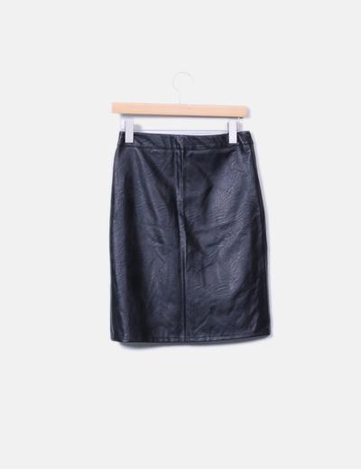 Falda midi negro polipiel con cremallera