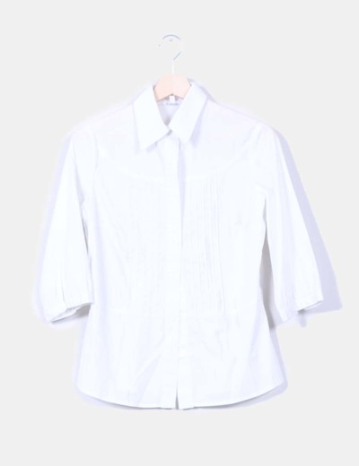 Camisa blanca con manga francesa Stradivarius