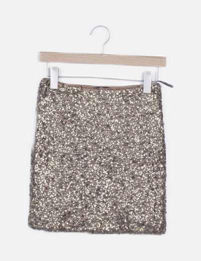 Mini falda dorada paillettes
