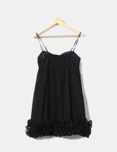 Vestido negro detalle floral