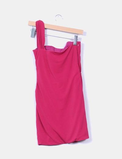 Vestido rosa fucsia de una manga