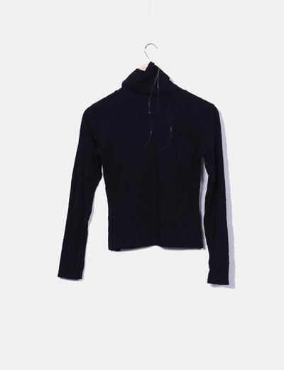 Camiseta negra morgan cuello vuelto