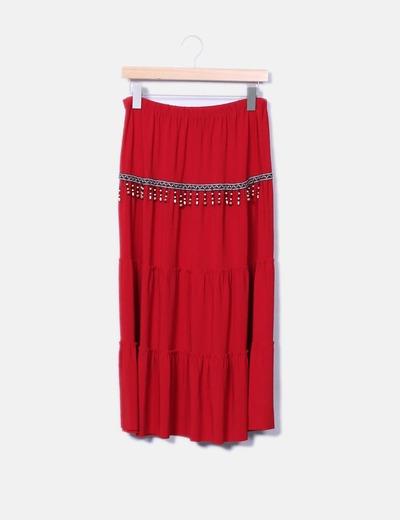 Falda roja con abalorios NoName