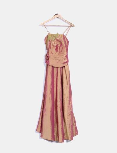 Maxi vestido rosa y mostaza satinado con abalorios NoName
