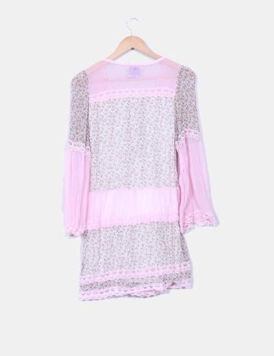 Vestido floral combinado rosa