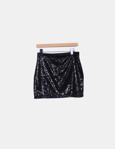 5dda6e673 Mini falda negra con lentejuelas brillantes