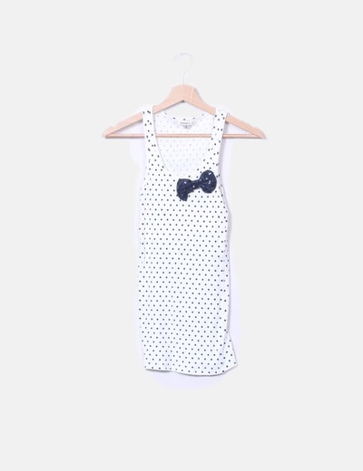 Top canale bianco con paillettes a pois Bershka