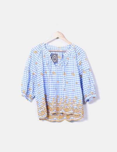 Blusón cuadros bordado mostaza Shimai