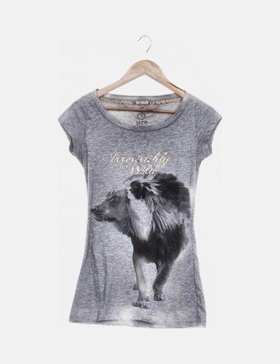 Camiseta gris print letras