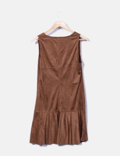 Vestido marron de antelina