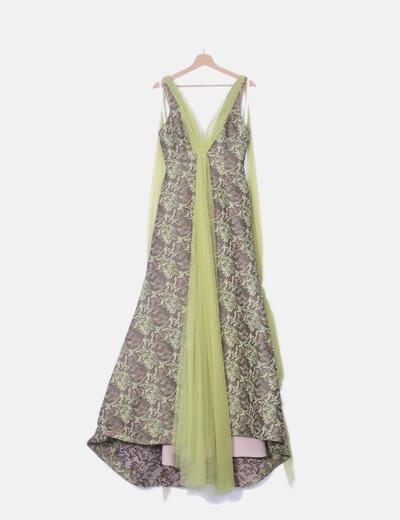 Vestido fiesta verde floral con gasa