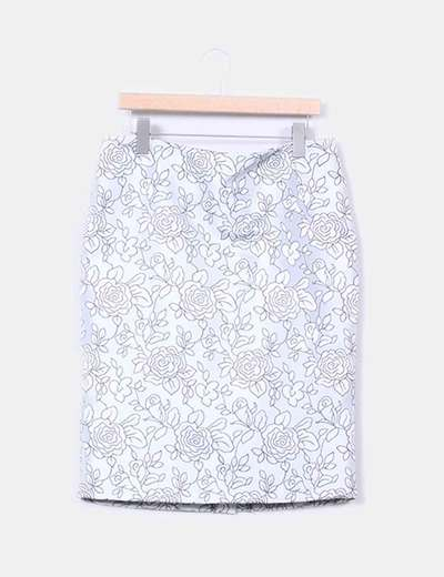 Falda gris con estampado floral  J. Arggido