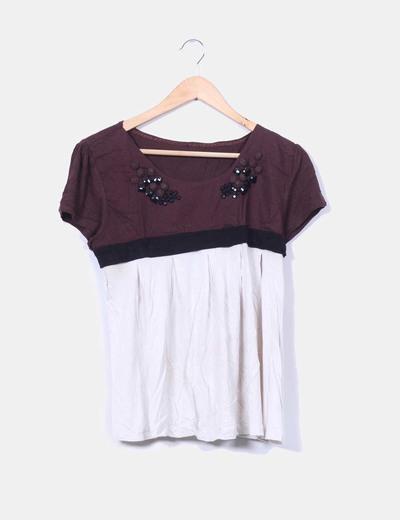 Camiseta bicolor detalle paillettes Sfera