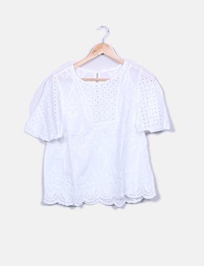 Blusa blanca guipur