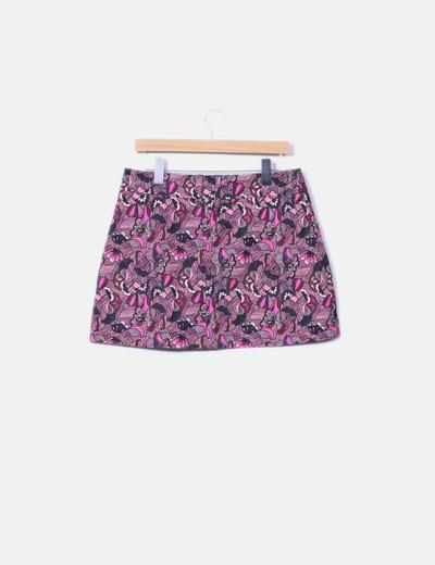 Minifalda botones floral