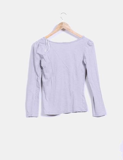 Camiseta basic gris manga larga