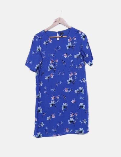 Robe bleue en mousseline à fleurs Vero Moda