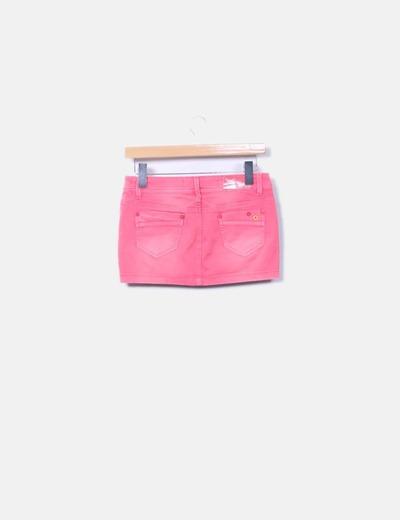 Mini falda rosa con bolsillos