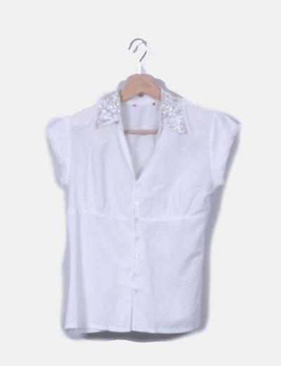 Camisa blanca solapas strass NoName