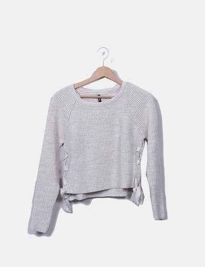 Jersey tricot crudo con lazos