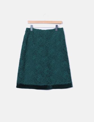 Falda de encaje verde