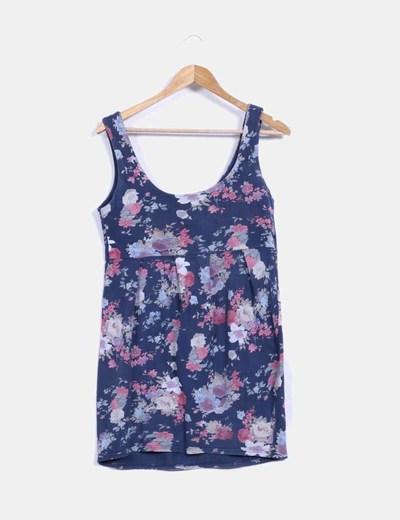 Vestido de tirantes azul con estampado floral Pull&Bear