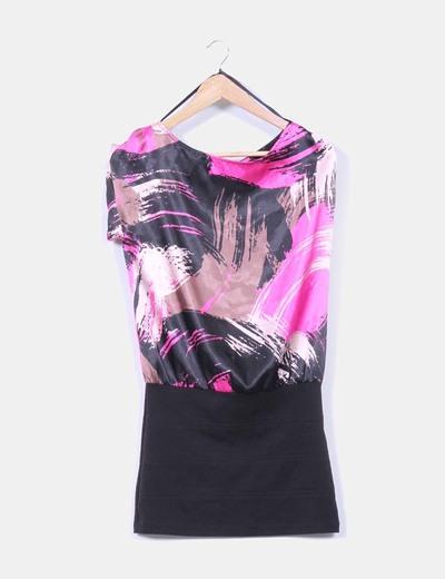 Vestido combinado rosa y negro Suiteblanco